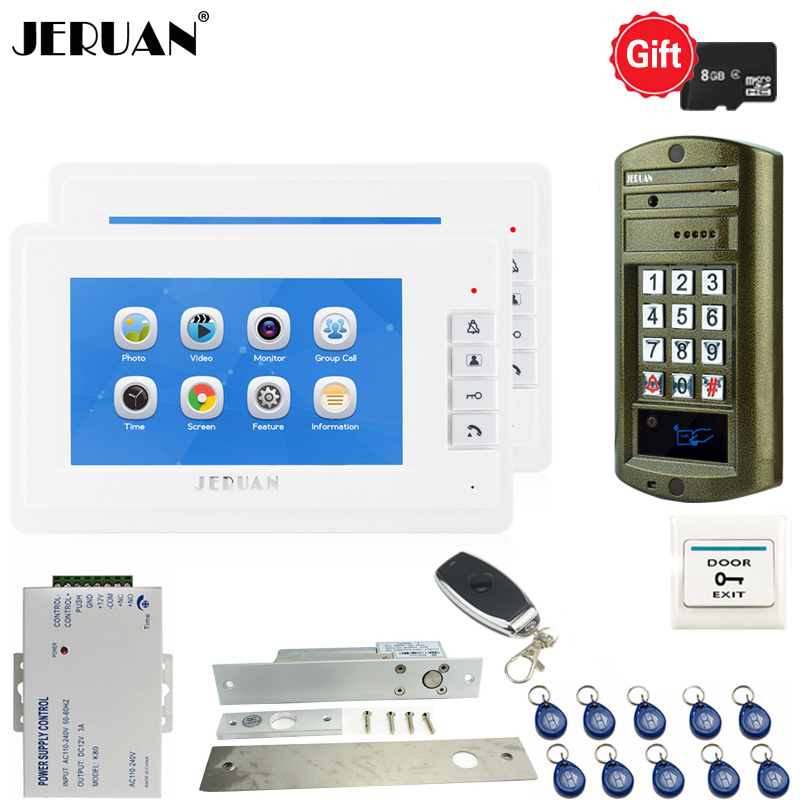 JERUAN 7 inch Video Door Phone Voice/Video Recording Intercom System kit Waterproof password Access Mini Camera 1V2 Doorbell jeruan 7 lcd video doorbell voice video recording intercom system kit 2 monitors waterproof password access mini camera 1v2