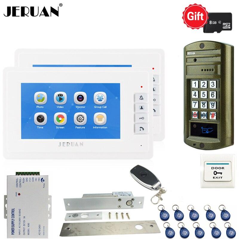 JERUAN 7 inch Video Door Phone Voice/Video Recording Intercom System kit Waterproof password Access Mini Camera 1V2 Doorbell