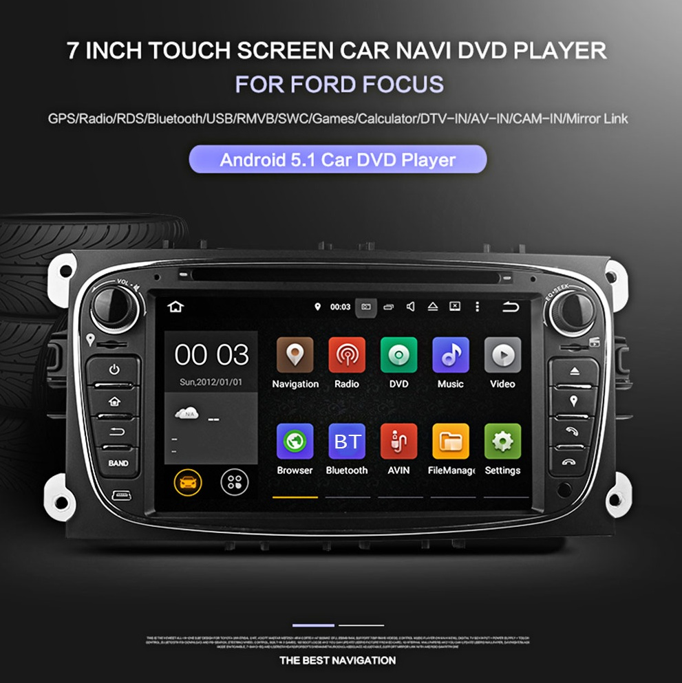du7009 7 inch double din android 5 1 quad core car stereo. Black Bedroom Furniture Sets. Home Design Ideas