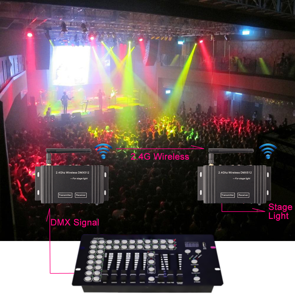 DMX 512 Wireless Lighting Controller Transmitter DMX512 Lights Display Control Console Stage Lighting Effect Warranty in 3 Years