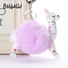Belbello 2019 Fashion Lovely Hair Ball Keyboard Alpaca PU leather Pendant Bag car Fur Hangers Holiday gift Toy Plush Pendant(China)