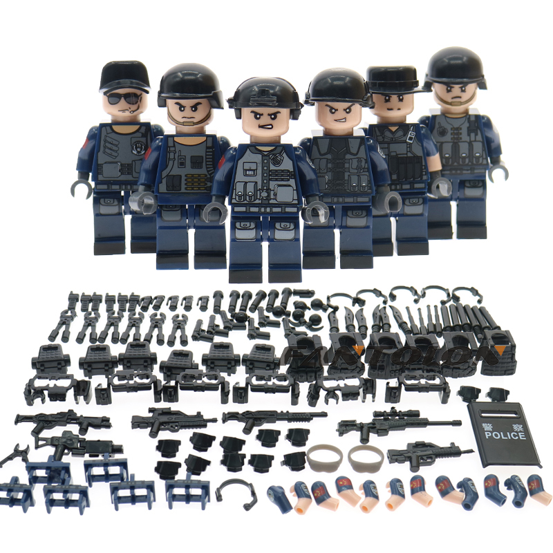 6pcs/lots Military building blocks with wepons and guns Police swat team children toy gift