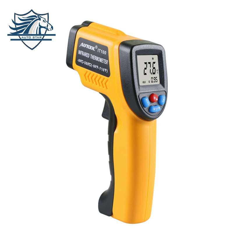 1Pcs IT100 Non-Contact Laser LCD Display IR Infrared Digital C/F Selection Surface Temperature Thermometer For Industry Home Use 1pc colorful lcd display infrared thermometer non contact digital ir laser thermometer 30 300degree for bside btm21a