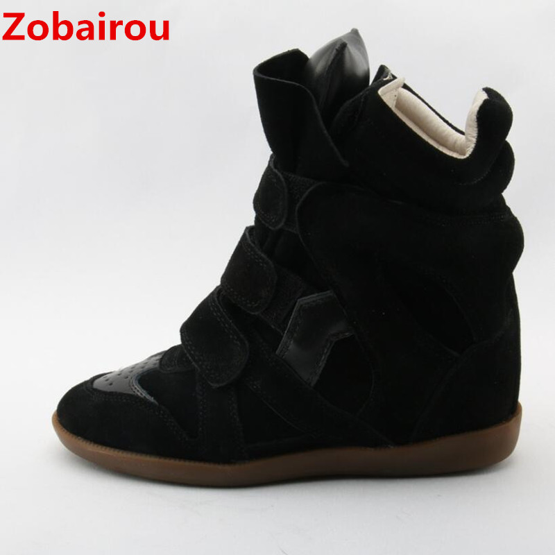 Zobairou black red suede leather cowboy ankle boots for women high top causal botas zapatillas plush latex punk shoes woman 2018