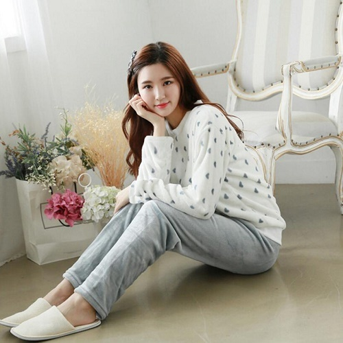 Autumn Winter Women Pajamas Sets Coral Fleece Sleepwear Warm Bathrobe Nightgowns Kimono Pyjamas Home Clothes Coral Fleece 14