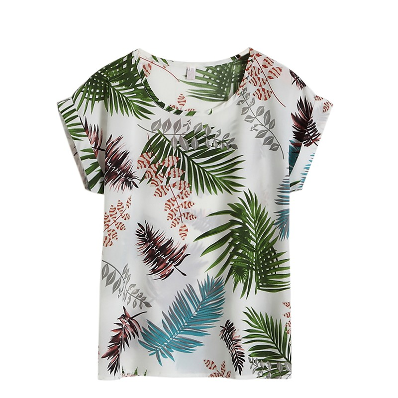 Summer Women Casual   Blouse     Shirt   Floral Chiffon Print O Neck Short Sleeve Lady Tops Plus Size 4XL Loose Blusas X3