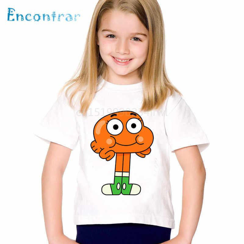 Personagem dos desenhos animados Imprimir O Incrível Mundo De Gumball Crianças Camisetas Crianças Verão T-shirt Meninos/Partes Superiores Das Meninas da Roupa Do Bebê, ooo5126