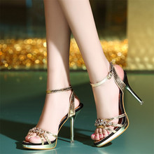 Europe and The US High Heels New Summer Rhinestones Gold Sexy Waterproof Platform Women's Sandals Wedges Shoes for Women sexy sequins and platform design sandals for women