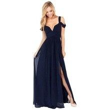Brand New Summer Floor Length Solid Dinner Sexy Long Dress Elegant Side Slit V Neck Strap Female Gown Dresses