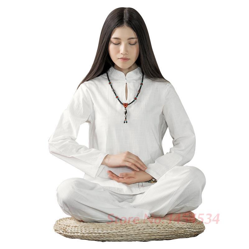 Penuh Terpanas Wanita lengan Panjang Katun Yoga Set Lady Meditasi - Pakaian olahraga dan aksesori