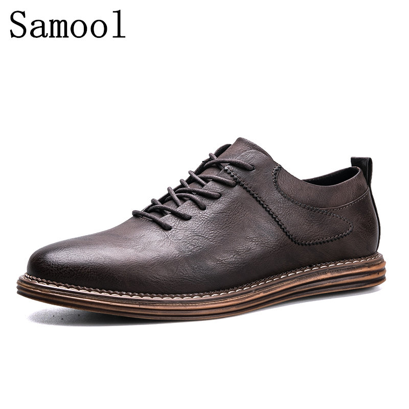 2017 Autumn Fashion Retro Men Cow Leather Shoes Casual Brogue Men's Flats Genuine Leather Shoes For Men Oxfords Men Footwear 2017 men shoes fashion genuine leather oxfords shoes men s flats lace up men dress shoes spring autumn hombre wedding sapatos