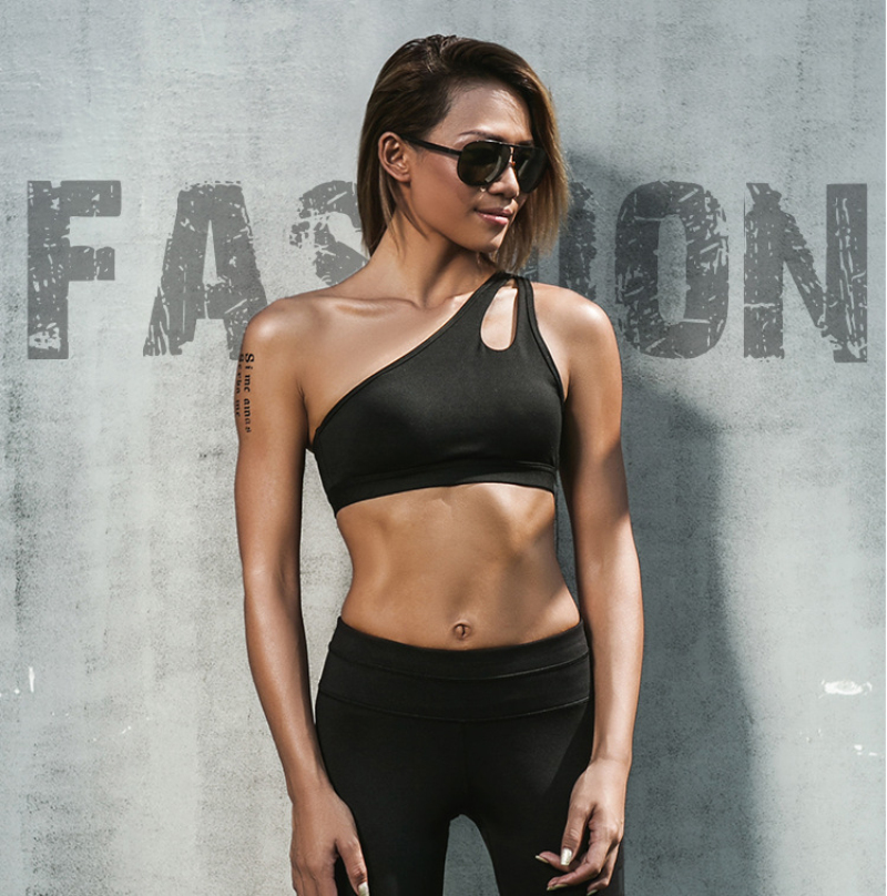 8145457a9b 2018 Alone Shoulder Strappy Bra Cropped Women Bra Built in Pad Sporting For Push  Up Tank Top For Girls Ropa Deportiva-in Camis from Women s Clothing on ...