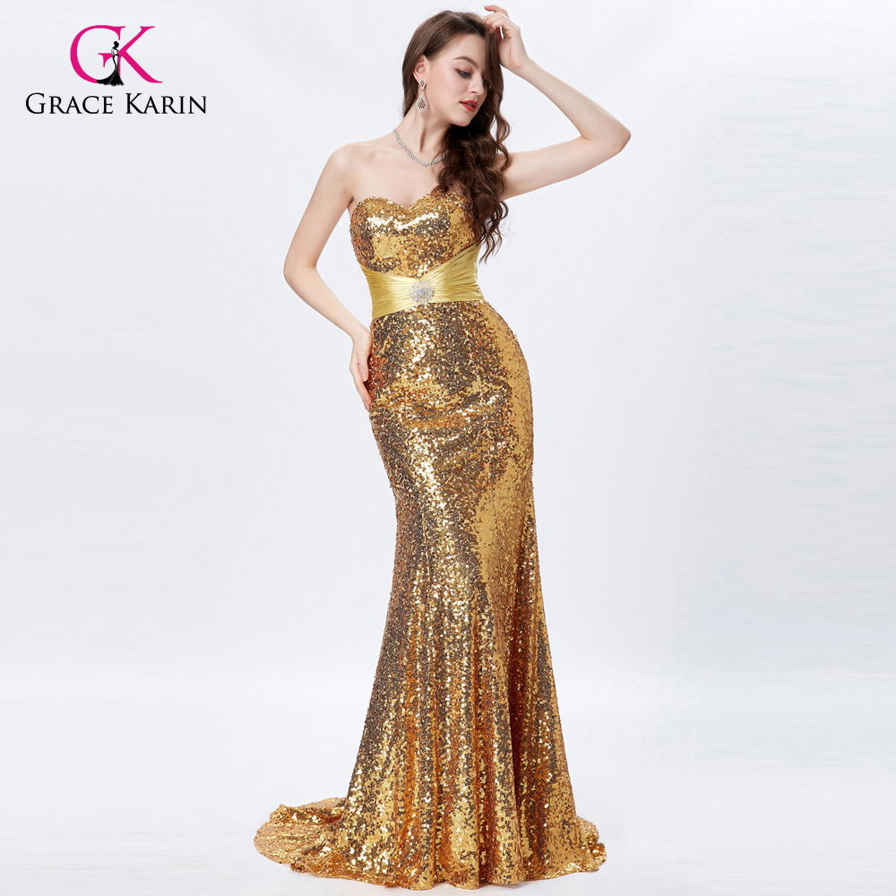 Grace Karin Long Gold Prom Dresses 2018 Sexy Sequin Sparkly Silver