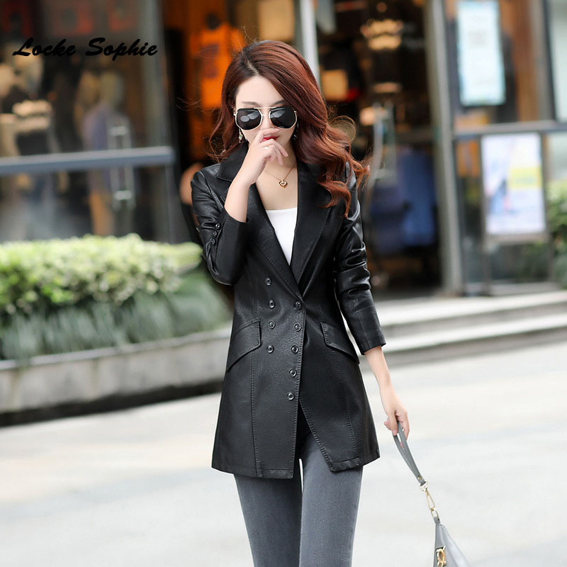 1pcs Women's Plus size long jacket blazers 2019 Spring faux fur   Leather   double-breasted Jacket ladies Skinny locomotive blazer