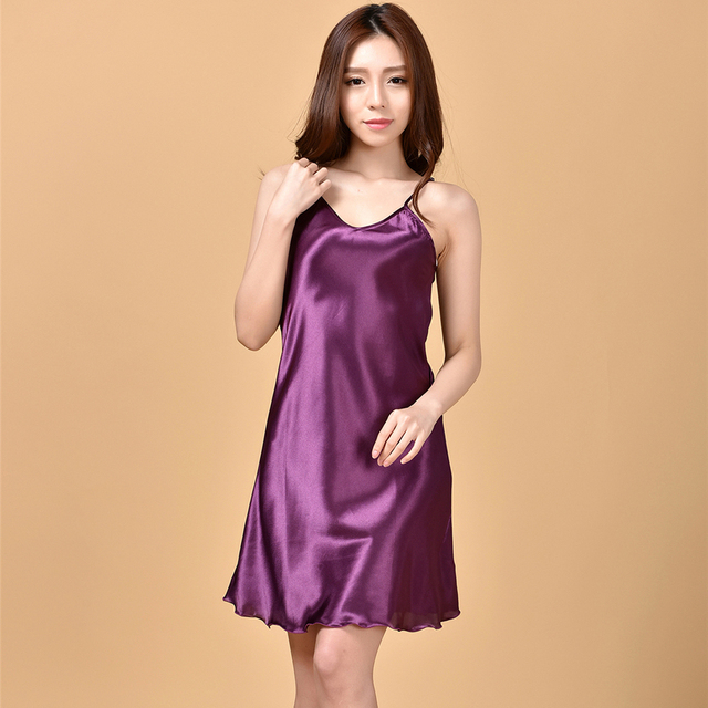 e1d48e736286 Summer New Purple Women s Satin Spaghetti Strap Nightgown Ruffles Nightie  Women Sexy Mini Robe Dress S M L XL XXL XXXL NG009