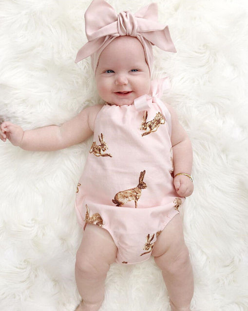 cc5b4ac675 Cute Newborn Toddler Baby Girl Clothes Pink Rabbit Romper Jumpsuit Outfits+Headband  Baby Girls Summer Clothes