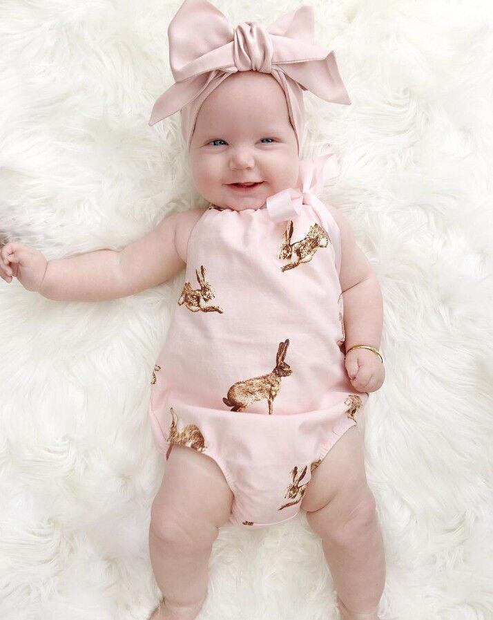 2pcs Cute Newborn Toddler Baby Girl Clothes Pink Rabbit font b Romper b font Jumpsuit Outfits