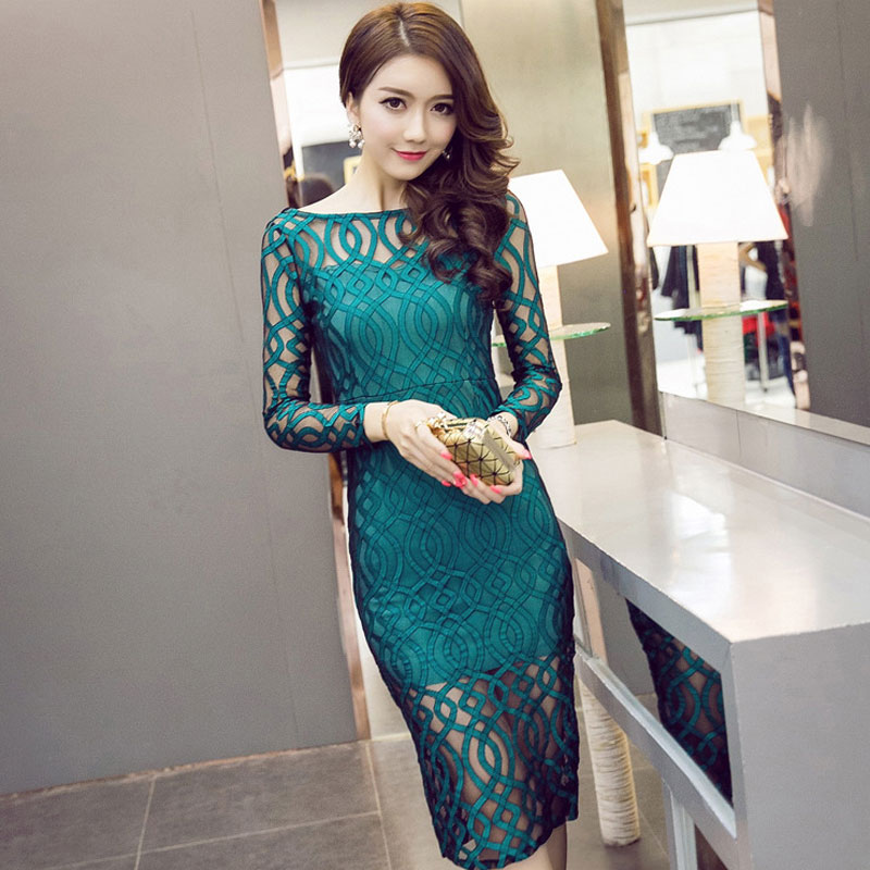 Long Sleeve Back V Neck Womens Sexy Party Dress Club Wear Lace Hollow Out Bodycon Dresses Slim Vestido for Women