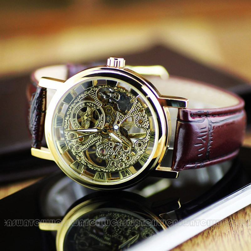 popular wind up watch men buy cheap wind up watch men lots from relogio masculino ultra thin men women watches golden mechanical skeleton watches manual hand wind up watches