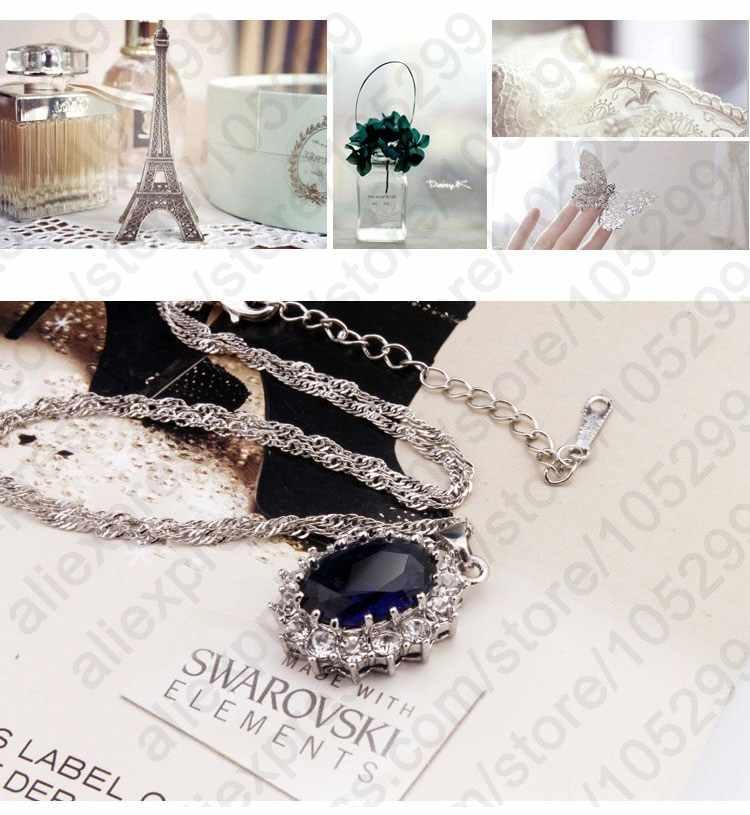 Принцесса Engagment Свадебный подлинный 925 пробы серебро А + + + кубический цирконий кулон ожерелье серьги женские ювелирные наборы