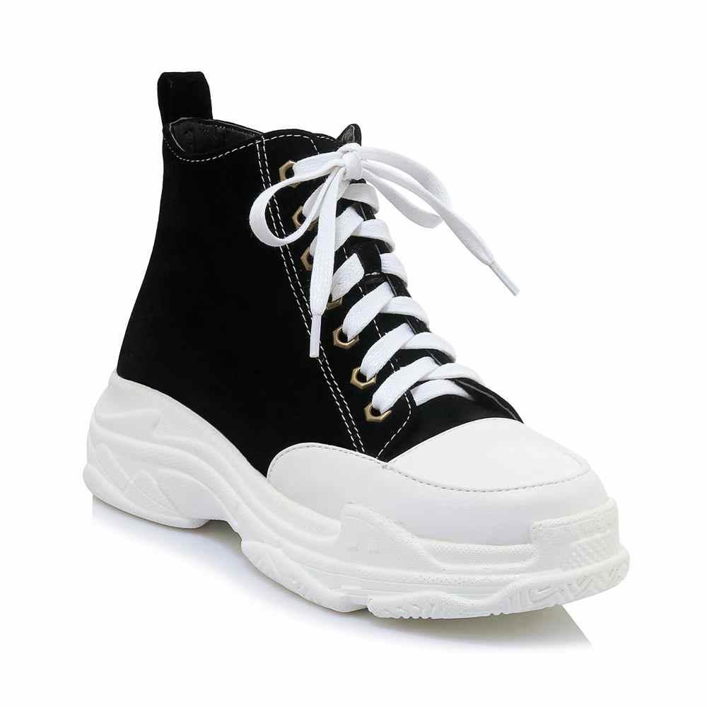 2018 moda akın lace up platformu yuvarlak ayak kalın alt kadın yarım çizmeler rahat tatil artan sıcak kış ayakkabı L31