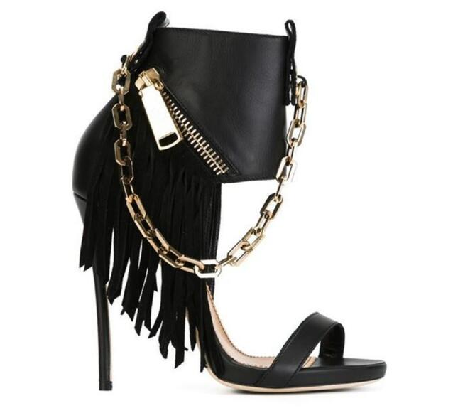 2017 Metallic chains black fringed stiletto gladiator sandals women high heels platform sandal size zipper ankle boots booties