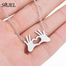 SMJEL – collier à breloques en acier inoxydable pour femmes, pendentif, main, amour, cœur, geste, cadeau, meilleurs amis