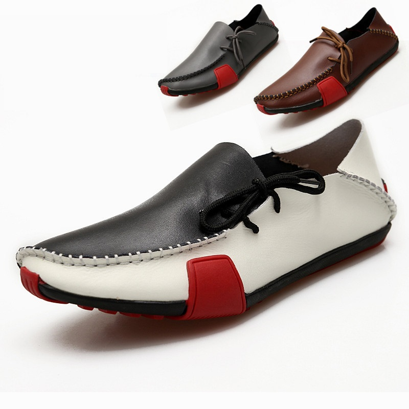 leather casual shoes comfortable breathable korean