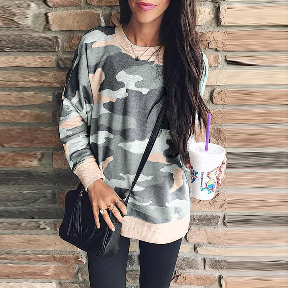 2649db6ed 2018 Newest Pullover Hoodies for Women Ladies Causal Camouflage Loose Long  Sleeve Plus Size Sweatshirts moleton