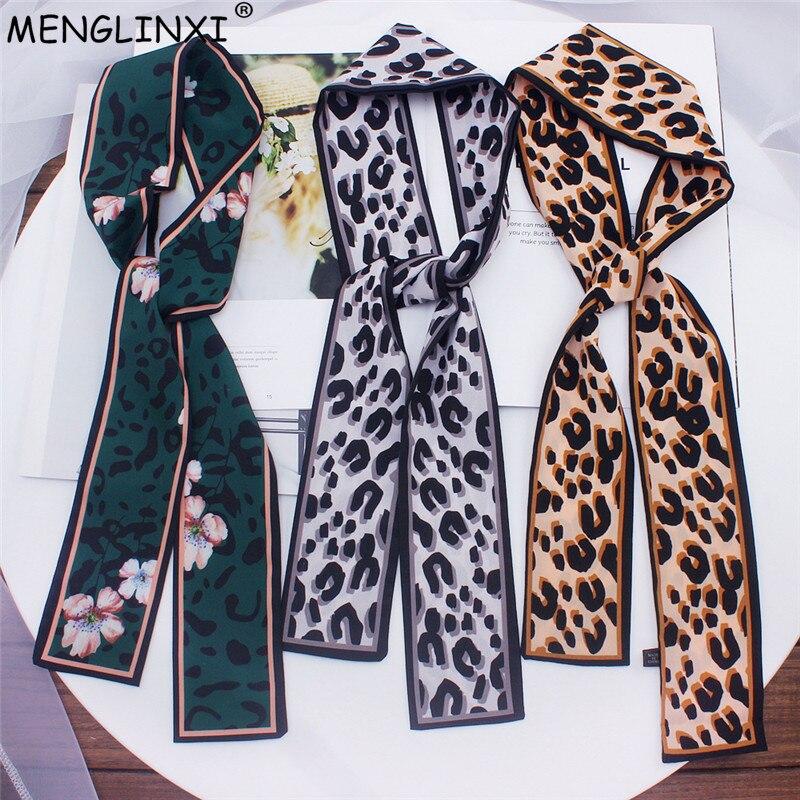 4679b5a939f39 2019 New Leopard Print Scarf Women Scarf Skinny Silk Scarf Small Handle Bag  Ribbons Female Neckerchief