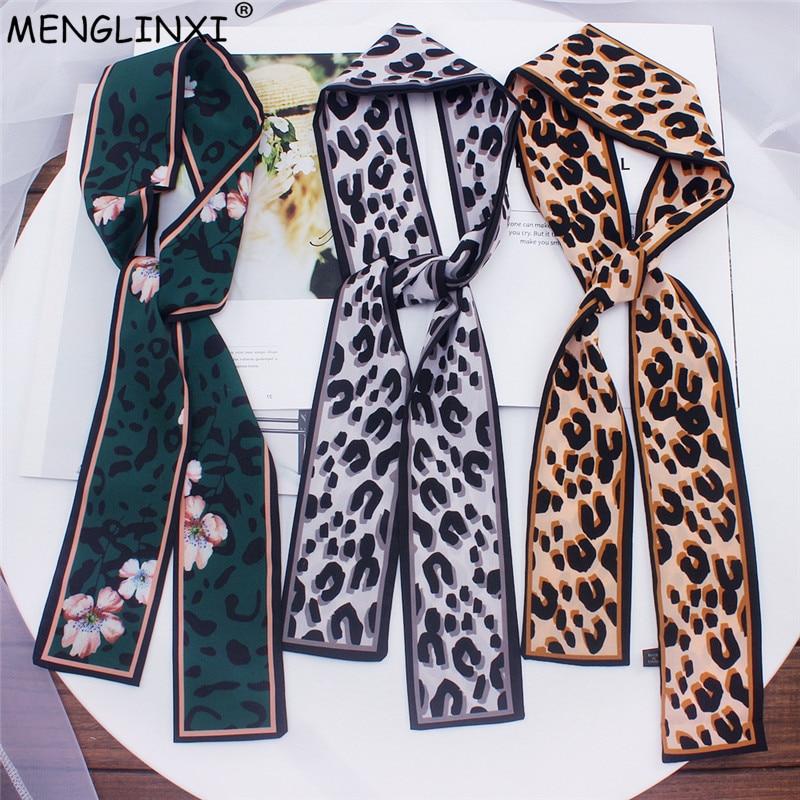 2019 New Leopard Print   Scarf   Women   Scarf   Skinny Silk   Scarf   Small Handle Bag Ribbons Female Neckerchief Head   Scarves   &   Wraps