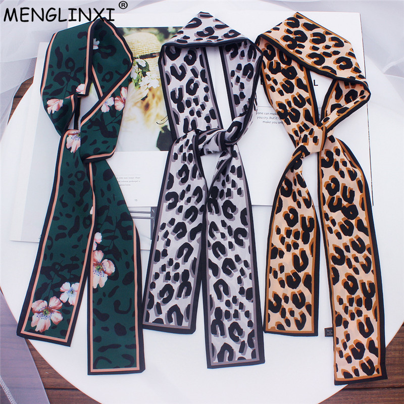 2020 New Leopard Print Scarf Women Scarf Skinny Silk Scarf Small Handle Bag Ribbons Female Neckerchief Head Scarves & Wraps