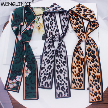 2020 New Leopard Print Scarf Women Scarf Skinny Silk Scarf Small Handle Bag Ribbons Female Neckerchief Head Scarves & Wraps men mixed print skinny scarf