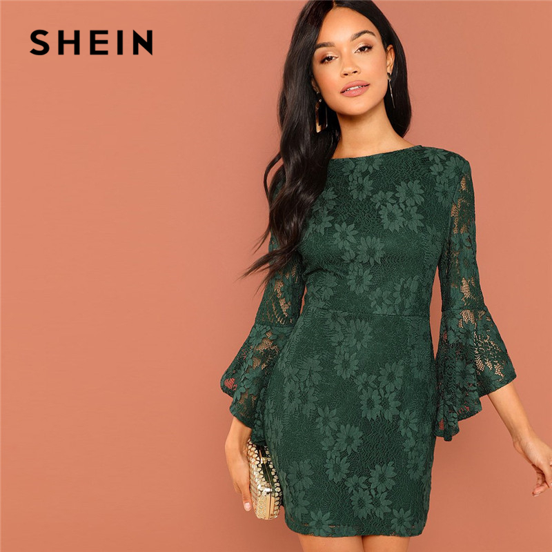 6d8e905e11 SHEIN Green Going Out Round Neck Flounce Sleeve Guipure Lace Sheer Zipper  Slim Bodycon Dress 2018