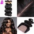 Peruvian Virgin Hair Body Wave Silk Base Closure With Bundles 7A Grade Unprocessed Human Hair 3/4Bundles With Silk Base Closure