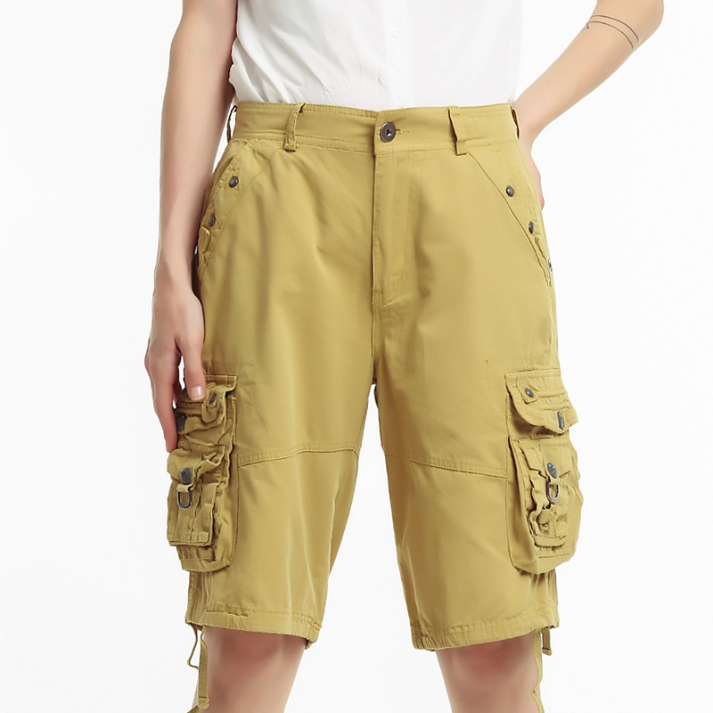 Womens Clothing Pocket Overalls Cotton Loose Straight Pants Knee Length Shorts