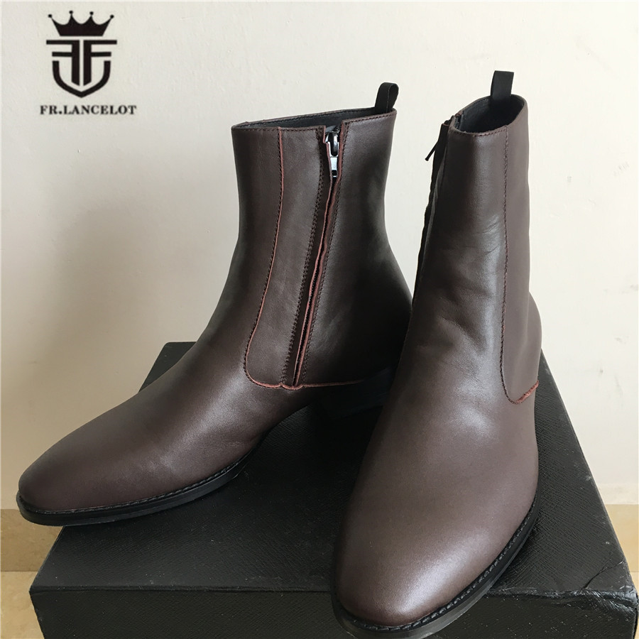 Genuine Leather Luxury High Top Handmade Wedge Harry Brown Zipper Men Boots Pointed Toed SLIM High Boots Real Picture-in Basic Boots from Shoes    3