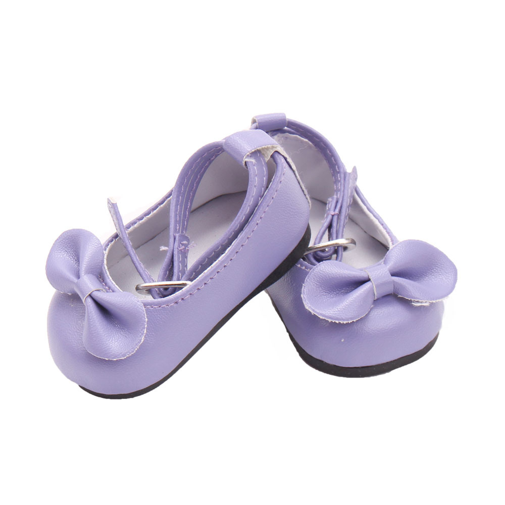 New American Girl Doll Shoes of Purple Color Bowknot Lace Up Doll Shoes for 18 American Girl Dolls and Other 18 Girl Dolls