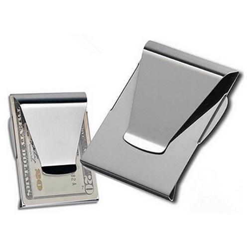 2 X NEW STAINLESS STEEL SILVER SLIM POCKET MONEY CLIP HOLDER USA SELLER