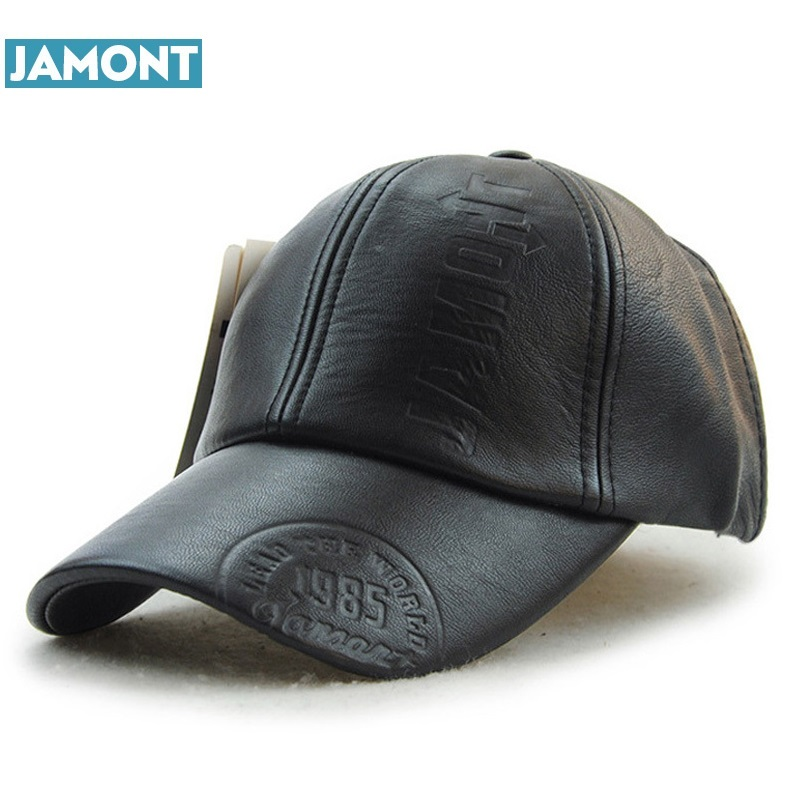 JAMONT Winter PU Leather Baseball Cap Warm Hats for Men