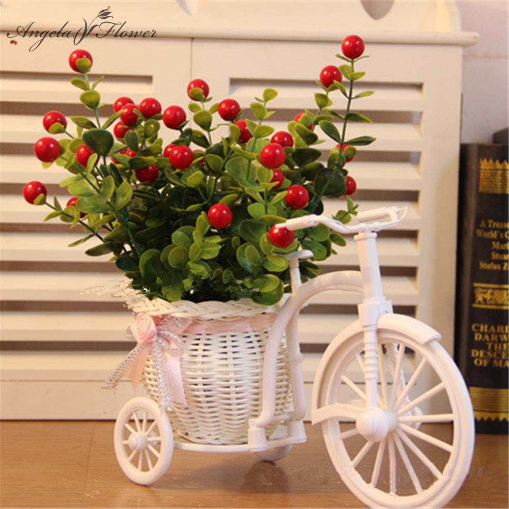 1set rattan bicycle with artificial fruit tree table for Artificial cherries decoration