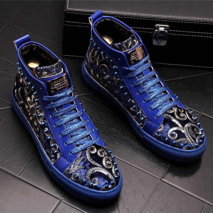 Stephoes 2019 Men Fashion Casual Ankle Boots Spring Autumn Rivets Luxury Brand High Top Sneakers Male High Top Punk Style Shoes 48