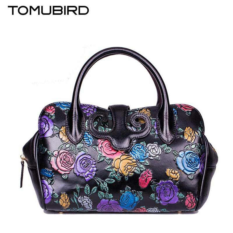 Famous brand top quality Cow Leather women bag  New fashionable flower handbag Retro Shoulder Messenger Bag Dumplings package