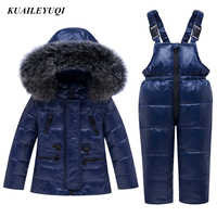 2019 new Winter warm Baby Boys duck Down Jacket coat Children parka real Fur collar Kids Ski clothing Set toddler Girl Clothes