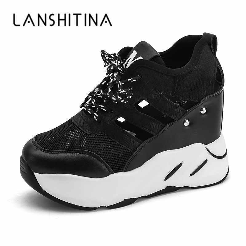 e1cdac229 Новая женская повседневная обувь на высокой платформе, лето 2018, дышащие  сетчатые кроссовки, женская