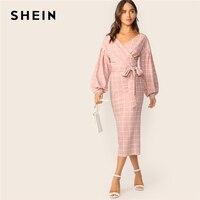 SHEIN Grid Surplice Neck Lantern Sleeve Belted Dress 2019 Elegant Pink Plaid V Neck Spring Autumn Dress Pink Women Dresses