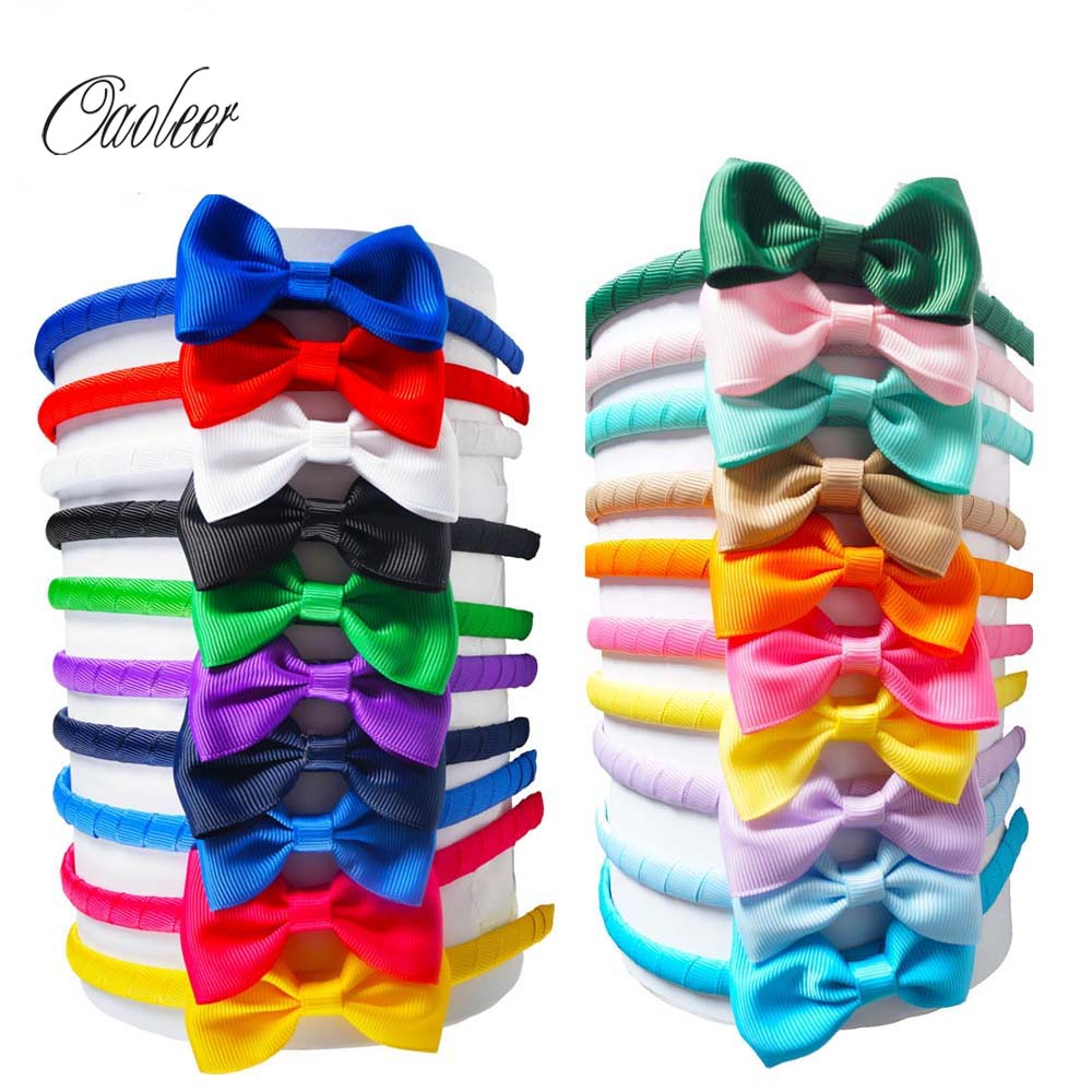 20pcs/lot Cute Grosgrain Ribbon Bows Girls Hairbands Kids Headbands Boutique Tiara Hair Accessories For Girls boutique handmade dot kids girls hair ties elastic tiara bows satin flower hairbows headbands hairband floral accessories mt 36