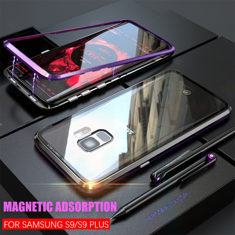 Magneto Magnetic Adsorption metal case for samsung galaxy S9/S9 plus case coque luxury Transparent tempered glass back cover