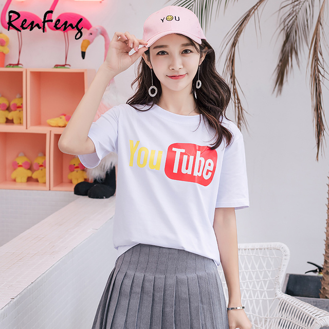 381c2b1ea7c3a 2018 Summer Harajuku Short Sleeves Woman basic Vintage tee Youtube logo  Print T-shirt Female Clothes Youth Women's plain t shirt
