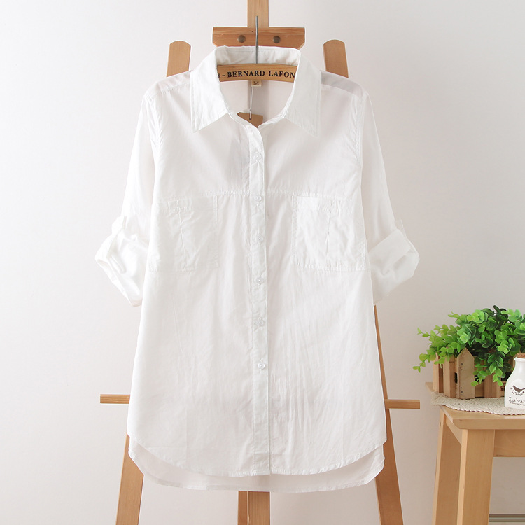 New Arrival Japanese Girls White Shirt Youth School Women Bottoming Blouses Casual Simple Botton Long Sleeve Shirts